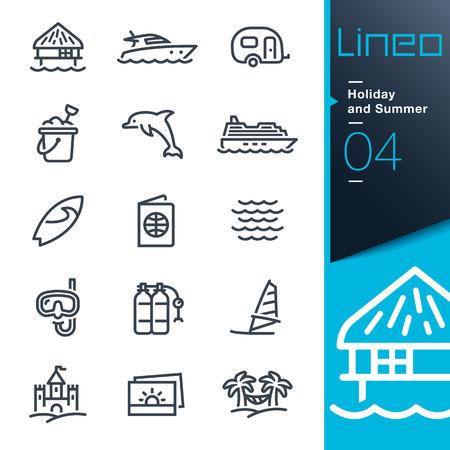 contorno: Lineo - vacaciones de verano y los iconos de esquema