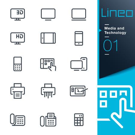 tv: Lineo - médias et des technologies contour icônes Illustration