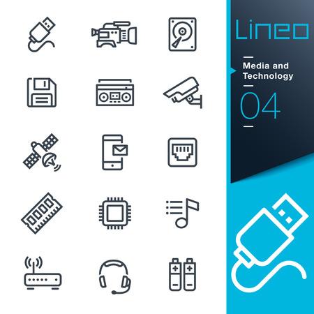 connexion: Lineo - médias et des technologies contour icônes Illustration
