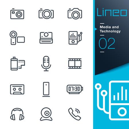 Lineo - Média a technologie ikony osnovy Ilustrace