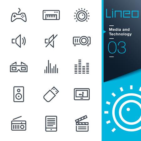 Lineo - Medios y Tecnología iconos de esquema Foto de archivo - 30565272