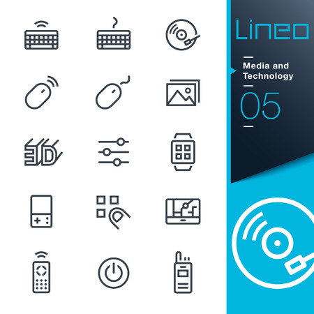 klawiatury: Lineo - mediów i technologii ikony konspektu