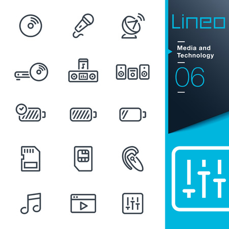 hi fi system: Lineo - Media and Technology outline icons