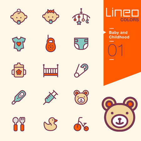 childhood: Lineo Colors - Baby and Childhood icons Illustration