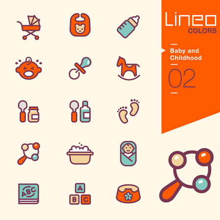 early childhood: Lineo Colors - Baby and Childhood icons Illustration