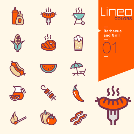 barbacoa: Lineo Colores - barbacoa y parrilla iconos Vectores