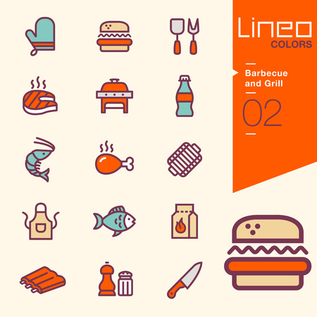 pork ribs: Lineo Colors - Barbecue and Grill icons