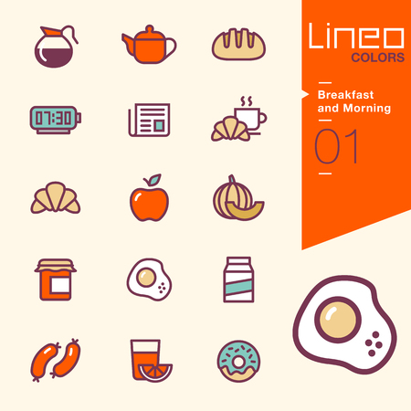 apple and honey: Lineo Colors - Breakfast and Morning icons