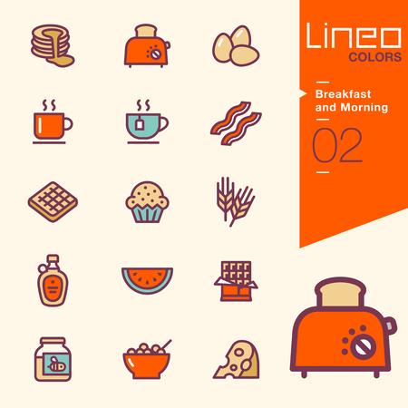 Lineo Kleuren - Ontbijt en Morning pictogrammen