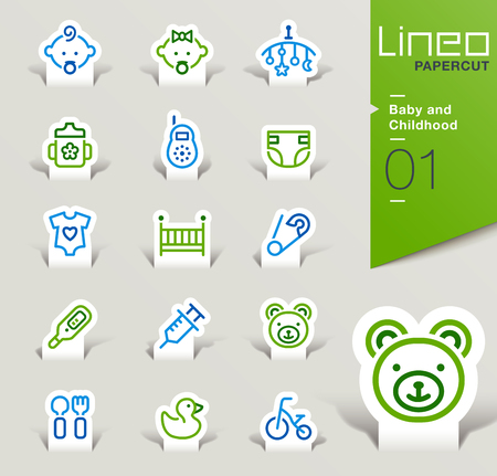 baby cutlery: Lineo Papercut - Baby and Childhood outline icons
