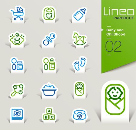nacimiento bebe: Lineo Papercut - bebés e infancia iconos contorno Vectores