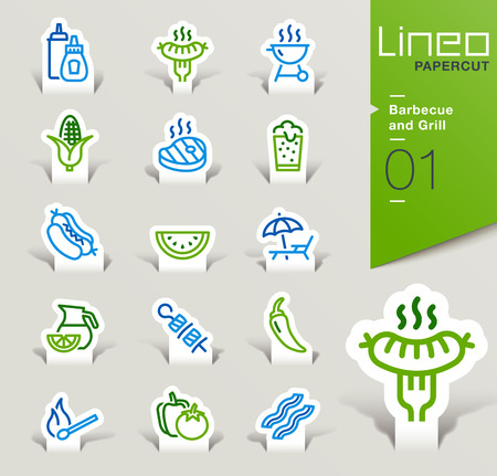 papercut: Lineo Papercut - Barbecue and Grill outline icons Illustration