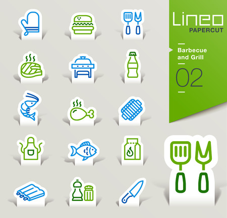chicken meat: Lineo Papercut - Barbecue and Grill outline icons Illustration