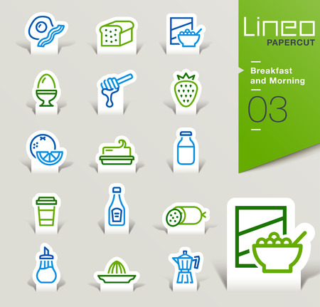 bread maker: Lineo Papercut - Breakfast and Morning outline icons Illustration