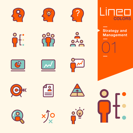 teamwork business: Lineo Colors - Strategy and Management icons Illustration
