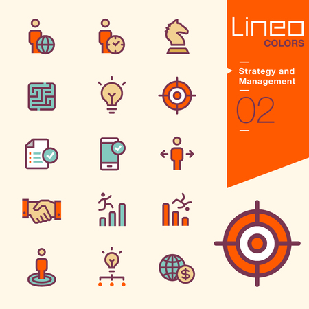 human vector: Lineo Colors - Strategy and Management icons Illustration
