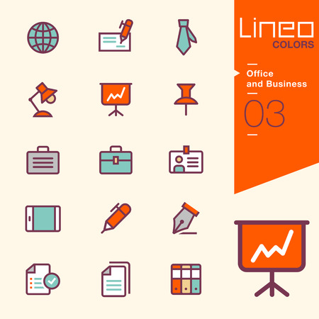 Lineo Kleuren - iconen Office en Business Stock Illustratie