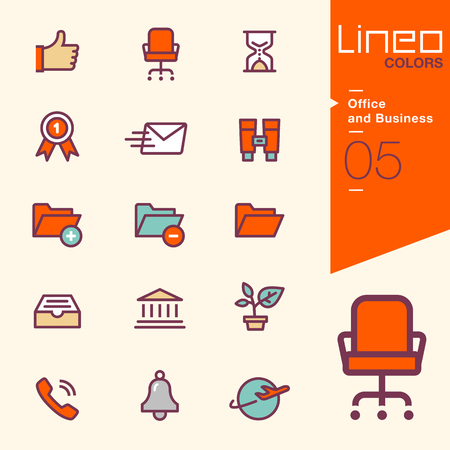 Lineo Colors - Office and Business icons Фото со стока - 48073971