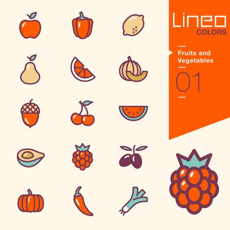 pimientos: Colores Lineo - frutas y verduras iconos Vectores
