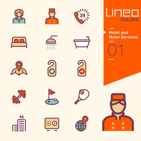 hotel bedroom: Lineo Colors - Hotel and Hotel Services icons