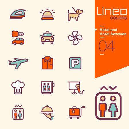 campanas: Lineo Colores - Servicios del hotel y del hotel iconos Vectores