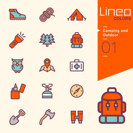 exteriores: Lineo Colores - Camping y al aire libre iconos Vectores