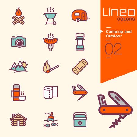 cuchillo: Lineo Colores - Camping y al aire libre iconos Vectores
