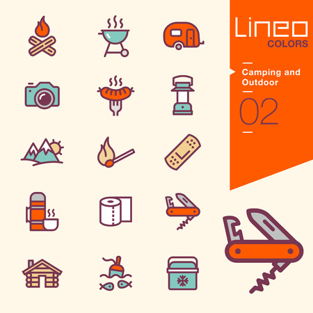 Lineo Colores - Camping y al aire libre iconos Ilustración de vector