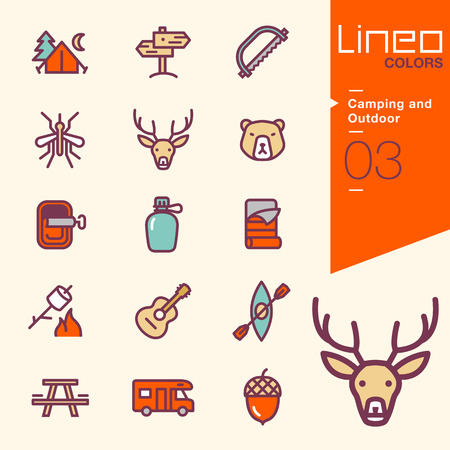 Lineo Colors - Camping and Outdoor icons 版權商用圖片 - 48064003