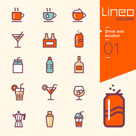 Lineo Colors - Drink and Alcohol icons Ilustrace