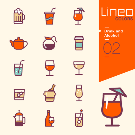 drinking straw: Lineo Colors - Drink and Alcohol icons Illustration