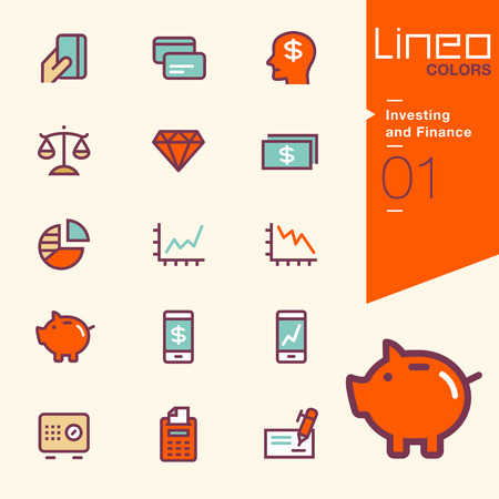 phone vector: Lineo Colors - Investing and Finance icons