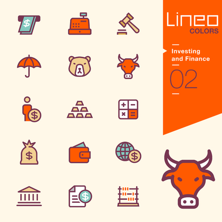 calculator money: Lineo Colors - Investing and Finance icons