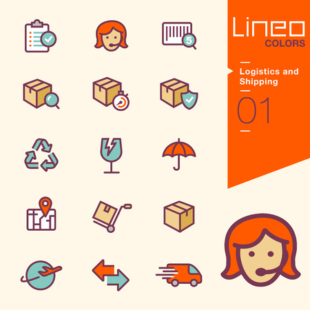 fragile industry: Lineo Colors - Logistics and Shipping icons Illustration