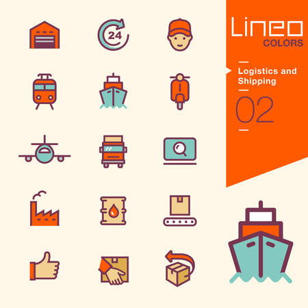 ship parcel: Lineo Colors - Logistics and Shipping icons Illustration
