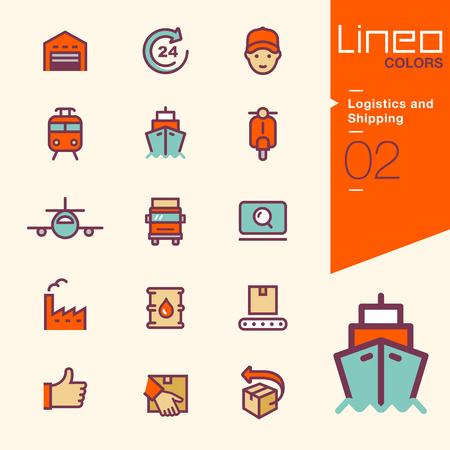 Lineo Kleuren - Logistiek en Verzending pictogrammen Stock Illustratie