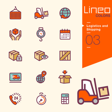 logistics world: Lineo Colors - Logistics and Shipping icons Illustration