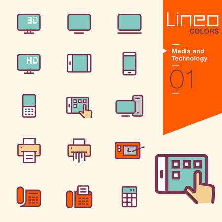 internet phone: Lineo Colors - Media and Technology icons