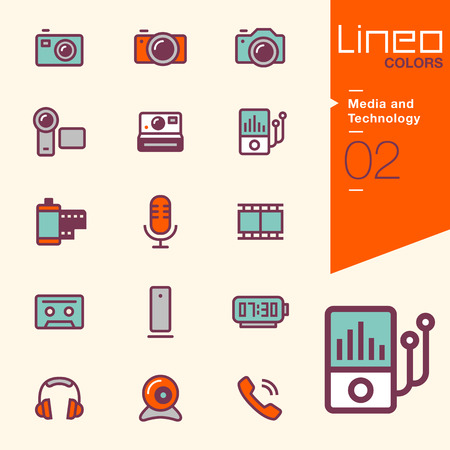 video call: Lineo Colors - Media and Technology icons