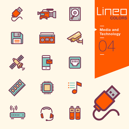 network and media: Lineo Colors - Media and Technology icons
