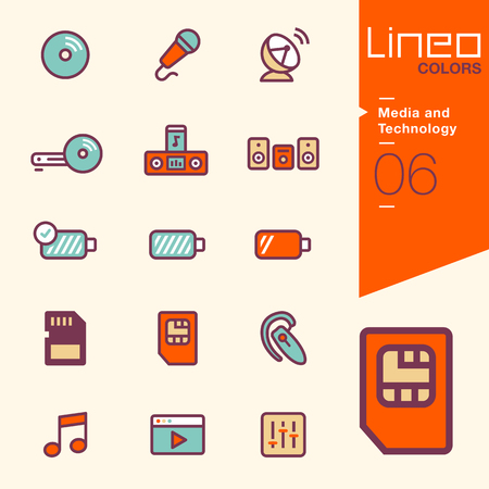 sd: Lineo Colors - Media and Technology icons