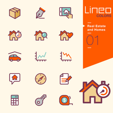 word love: Lineo Colors - Real Estate and Homes icons Illustration