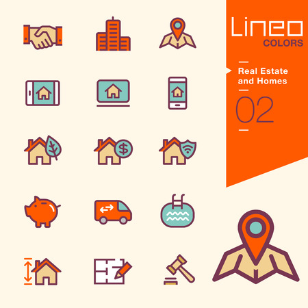 swimming pool home: Lineo Colors - Real Estate and Homes icons Illustration