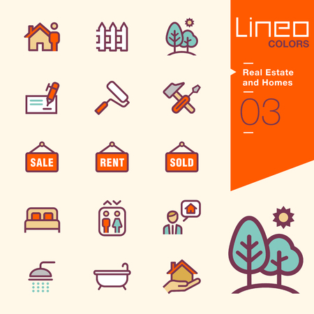 home and garden: Lineo Colors - Real Estate and Homes icons Illustration