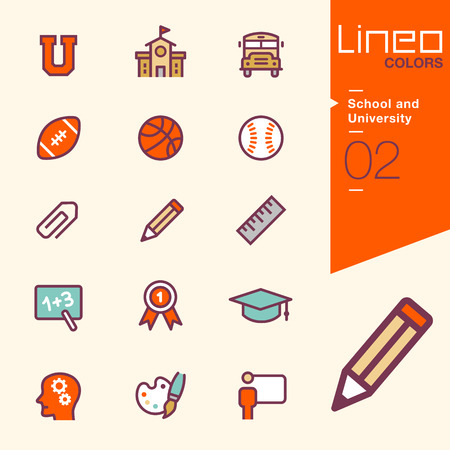 teach: Lineo Colors - School and University icons