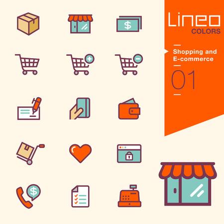 쇼핑 및 전자 상거래 아이콘 - LINEO 색상 일러스트