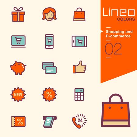 쇼핑 및 전자 상거래 아이콘 - LINEO 색상 스톡 콘텐츠 - 48523815