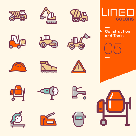 mechanical back: Lineo Colors - Construction and Tools icons