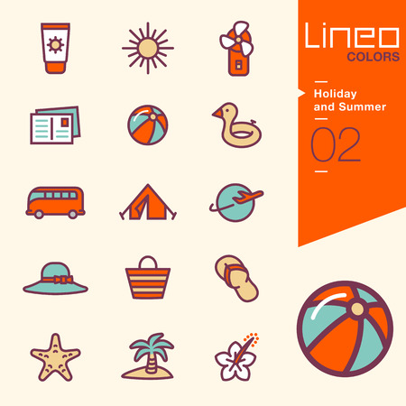 palm lined: Lineo Colors - Holiday and Summer icons
