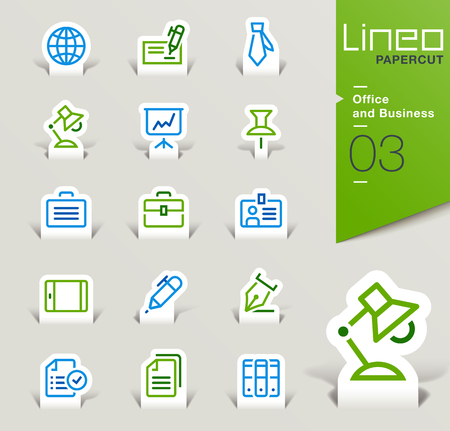 multiple choice: Lineo Papercut - Office and Business icons outline